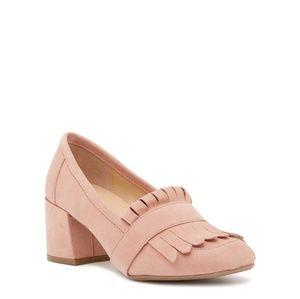 Suede block heel loafer - dusty pink
